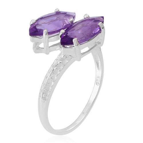 Amethyst (Mrq) Crossover Ring in Sterling Silver 3.000 Ct.