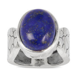 Tribal Collection of India Lapis Lazuli (Ovl) Solitaire Ring in Sterling Silver 9.500 Ct.