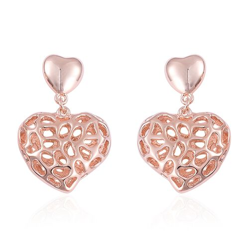 RACHEL GALLEY Rose Gold Overlay Sterling Silver Amore Heart Earrings (with Push Back), Silver wt 6.90 Gms.