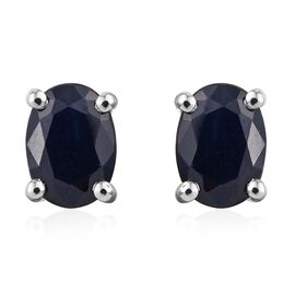 RHAPSODY 950 Platinum Blue Sapphire Oval Solitaire Stud Earrings 2.25 Carat with Screw Back.