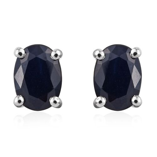 RHAPSODY 950 Platinum 2.25 Carat Kanchanaburi Blue Sapphire Oval Solitaire Stud Earrings with Screw Back.