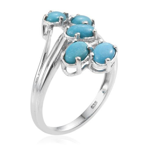 Kingman Turquoise (Ovl) 5 Stone Crossover Ring in Platinum Overlay Sterling Silver 2.000 Ct.