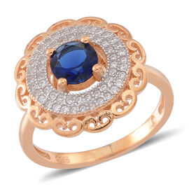 ELANZA AAA Simulated Ceylon Sapphire (Rnd), Simulated White Diamond Ring in Yellow Gold Overlay Sterling Silver