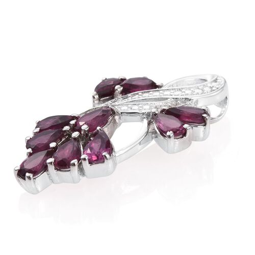 Rhodolite Garnet (Pear) Pendant in ION Plated Platinum Bond 2.500 Ct.
