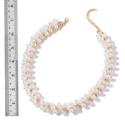 Simulated White Diamond and Simulated White Stone Necklace (Size 18 with 3 inch Extender) in Gold Tone
