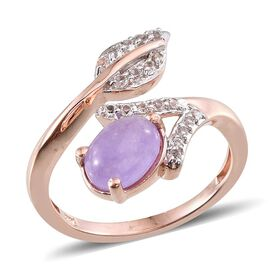 Purple Jade (Ovl 1.50 Ct), White Topaz Leaf Ring in Rose Gold Overlay Sterling Silver 1.750 Ct.