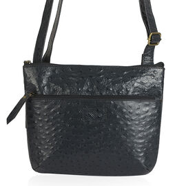Genuine Leather RFID Blocker Black Colour Ostrich Embossed Crossbody Bag with External Zipper Pocket and Adjustable Strap (Size 29.5x24 Cm)