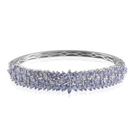 Tanzanite (Mrq) Bangle in Platinum Overlay Sterling Silver (Size 7.5) 10.070 Ct.