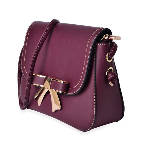 Burgundy Colour Crossbody Bag with Shoulder Strap (Size 21.5x17x6.5 Cm)