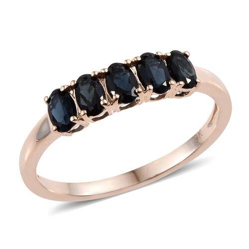 9K Y Gold Monte Belo Indicolite (Ovl) 5 Stone Ring 1.000 Ct.