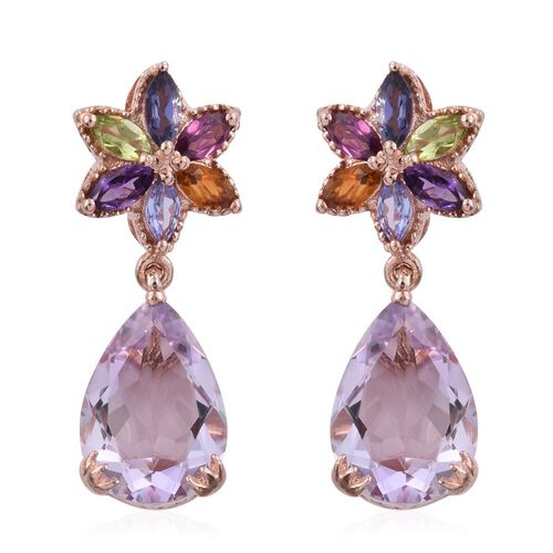 Rose De France Amethyst (Pear), Hebei Peridot, Rhodolite Garnet, Amethyst, Citrine, Tanzanite and Iolite Earrings (with Push Back) in Rose Gold Overlay Sterling Silver 12.000 Ct.