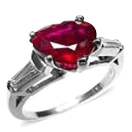 African Ruby (Hrt 11.00 Ct), Natural Cambodian White Zircon Ring in Rhodium Plated Sterling Silver 11.500 Ct.