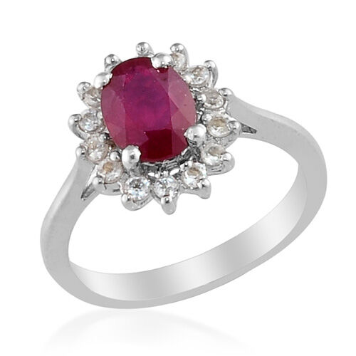 African Ruby (1.75 Ct)White Topaz Platinum Overlay Sterling Silver Ring  2.150  Ct.