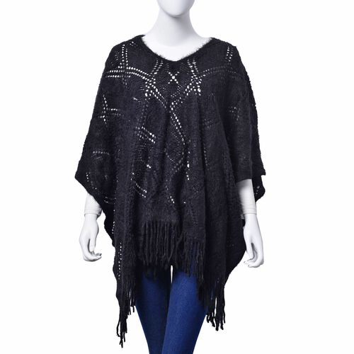Black Colour Diamond and Floral Pattern Poncho (Size 90x60 Cm)