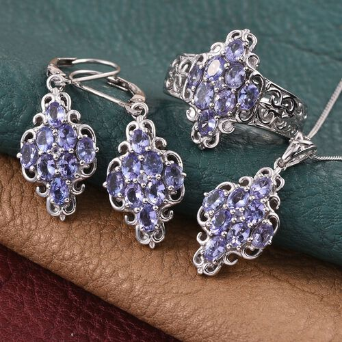 Tanzanite (Ovl) Ring, Pendant With Chain and Lever Back Earrings in Platinum Overlay Sterling Silver 4.500 Ct.
