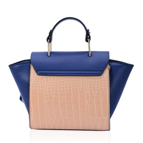 Daniela Navy Blue and Beige Colour Tote Bag with Adjustable and Removable Shoulder Strap (Size 33x22x8 Cm)