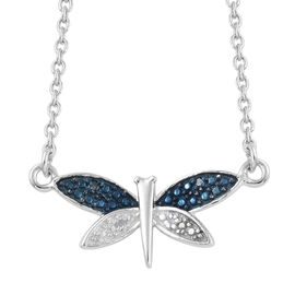 Blue Diamond (Rnd), White Diamond Butterfly Necklace with Chain (Size 18) in Platinum Overlay Sterling Silver