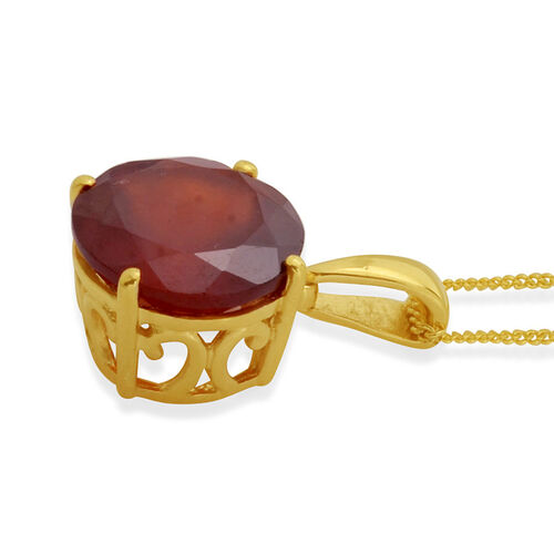 Ratnapura Hessonite Garnet (Rnd) Solitaire Pendant With Chain in 14K Gold Overlay Sterling Silver 3.960 Ct.