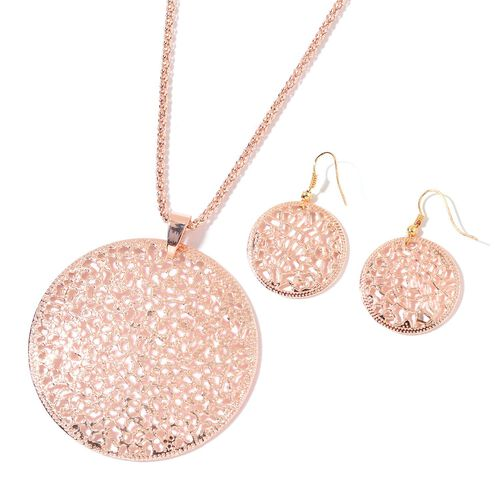 Lattice Circle Pendant with Chain (Size 28) and Hook Earrings in Yellow and Rose Gold Tone
