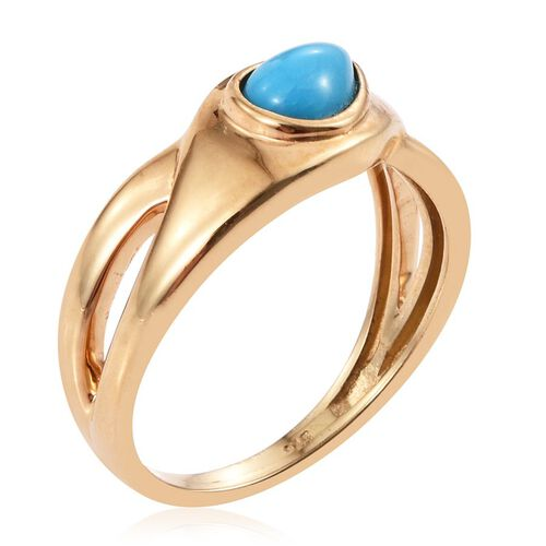 Arizona Sleeping Beauty Turquoise (Pear) Solitaire Ring in 14K Gold Overlay Sterling Silver 0.750 Ct.