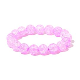 Simulated Pink Sapphire Stretchable Bracelet (Size 6.5 to 9)