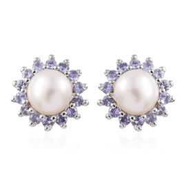 Pearl and Tanzanite Silver Halo Stud Earrings with Push Back in Platinum Overlay