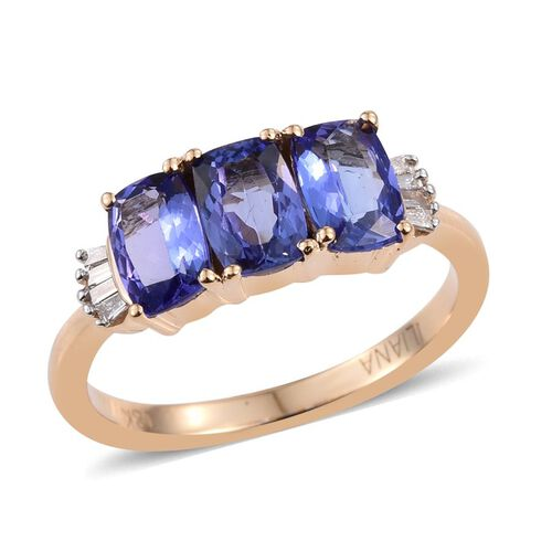 ILIANA 18K Y Gold AAA Tanzanite (Cush), Diamond Ring 1.750 Ct.