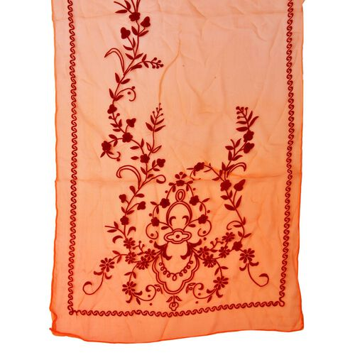 100% Mulberry Silk Chocolate Colour Velvet Floral Pattern Carrot Red Colour Scarf (Size 170X50 Cm)