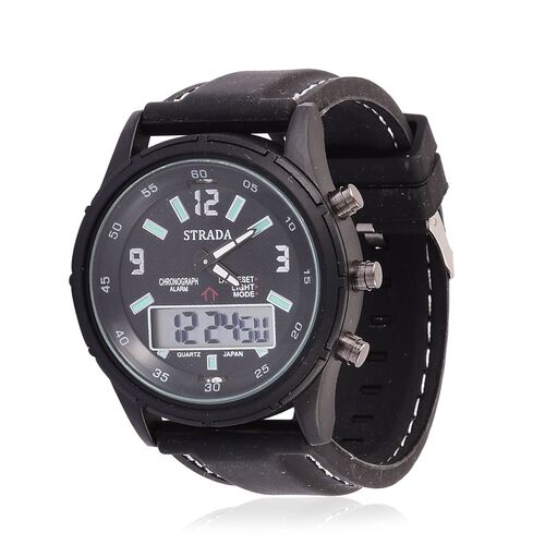 STRADA Chinese Movement Black Colour Analog - Digital Watch in Black Tone with Black Colour Silicone Strap
