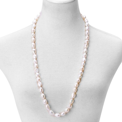 AAAA Rare Double Shine Fresh Water NATURAL White Baroque Pearl Necklace (11-13 mm) - Size 32 Inch