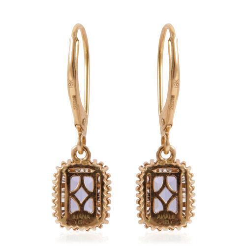 ILIANA 18K Y Gold AAA Tanzanite (Oct), Diamond (SI/G-H) Lever Back Earrings 1.500 Ct.