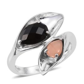 Black Onyx (Pear 1.00 Ct), Mitiyagoda Peach Moonstone Crossover Ring in Platinum Overlay Sterling Silver 1.500 Ct.