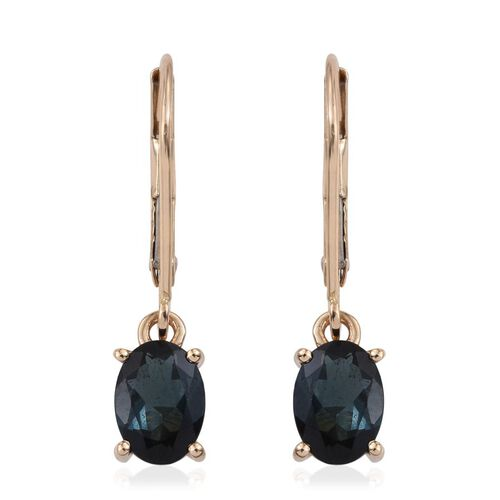 ILIANA 18K Y Gold Monte Belo Indicolite (Ovl) Lever Back Earrings 1.500 Ct.