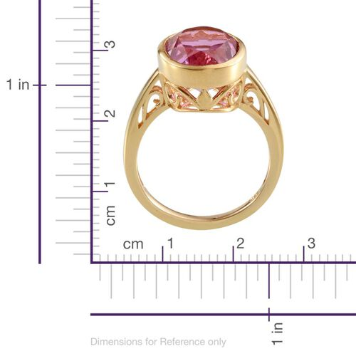 Kunzite Colour Quartz (Ovl) Solitaire Ring in 14K Gold Overlay Sterling Silver 6.000 Ct.