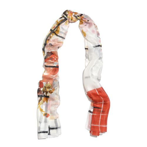 100% Mulberry Silk White, Red and Multi Colour Grid and Floral Hand Screen Printed Scarf (Size 180X100 Cm)