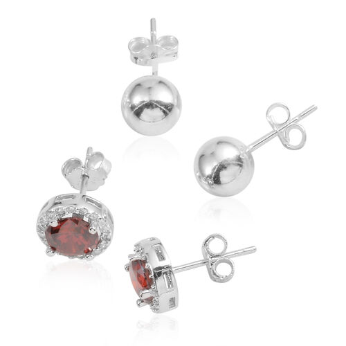 JCK Vegas Collection Set of 2 - AAA Simulated Ruby (Rnd), Simulated Diamond Stud Earrings (with Push Back) in Sterling Silver