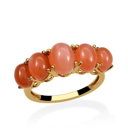 Mitiyagoda Peach Moonstone (Ovl 2.00 Ct) 5 Stone Ring in 14K Gold Overlay Sterling Silver 6.250 Ct.