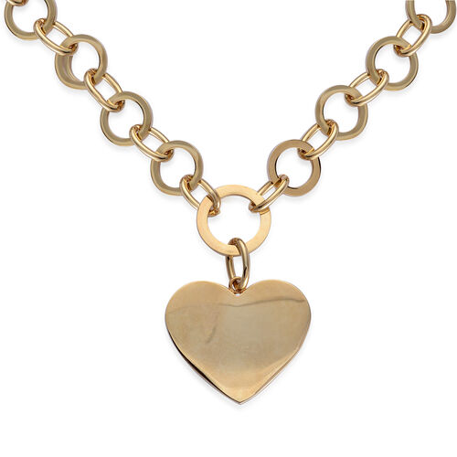 Heart Belcher Necklace (Size 20) in ION Plated Yellow Gold Stainless Steel