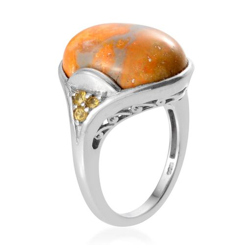 Bumble Bee Jasper (Ovl 9.00 Ct), Yellow Sapphire Ring in Platinum Overlay Sterling Silver 9.150 Ct.