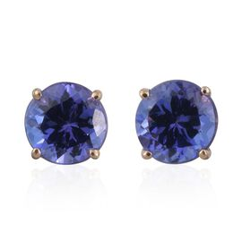 ILIANA 18K Yellow Gold 1 Carat AAA Tanzanite Round Solitaire Stud Earrings with Screw Back.