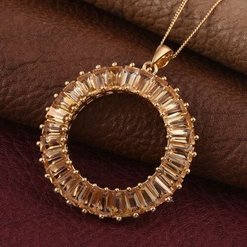 Citrine (Bgt) Circle of Life Pendant With Chain in 14K Gold Overlay Sterling Silver 6.750 Ct.