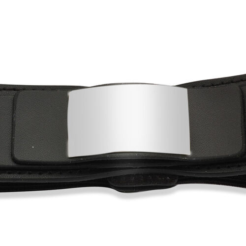 Black Leather Womens Belt with Silver Tone Buckle (Size 32)