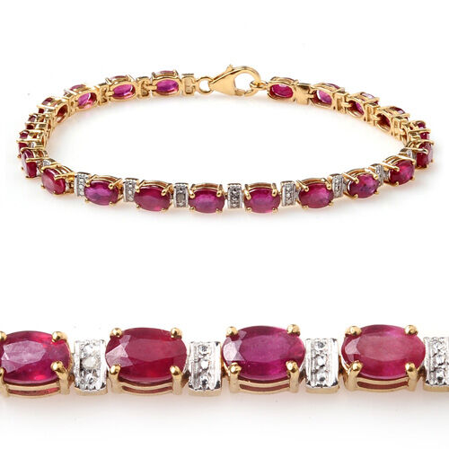 African Ruby (11.75 Ct),White Topaz 14K Gold Overlay Sterling Silver Bracelet (Size 7.5)  11.800  Ct.