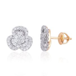 ILIANA 18K Yellow Gold 1 Carat IGI Certified Diamond (SI/G-H) Stud Earrings (with Screw Back)