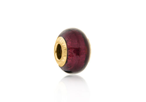 Close Out Deal 9K Y Gold Burgundy Colour Murano Glass Bead Charm