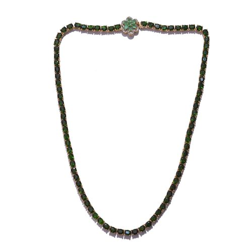 Russian Diopside (Ovl), Kagem Zambian Emerald and Diamond Necklace (Size 18) in 14K Gold Overlay Sterling Silver 37.000 Ct.