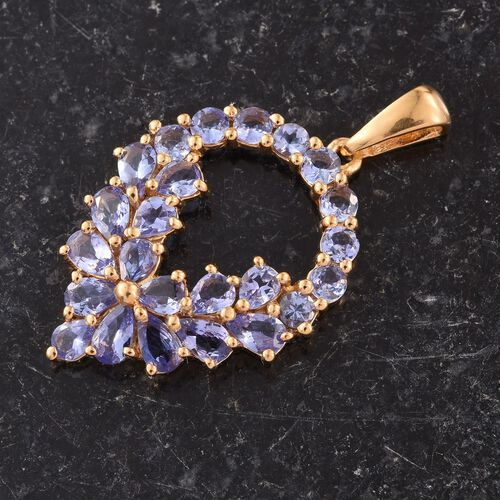 Tanzanite (Pear) Pendant in 14K Gold Overlay Sterling Silver 4.000 Ct.
