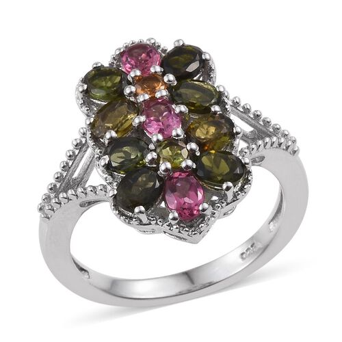 Rainbow Tourmaline (Ovl) Twin Floral Ring in Platinum Overlay Sterling Silver 2.000 Ct.