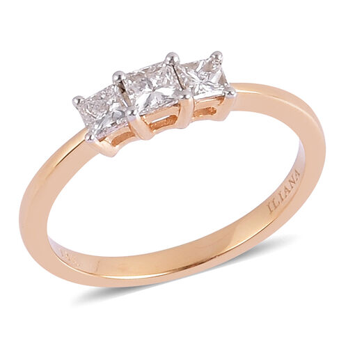 ILIANA 18K Yellow Gold IGI Certified 0.50 Carat Diamond Princess (SI/ G-H) Trilogy Engagement Ring.
