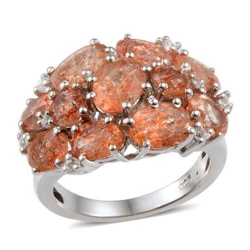 Tanzanian Sun Stone (Ovl), White Topaz Ring in Platinum Overlay Sterling Silver 5.500 Ct.